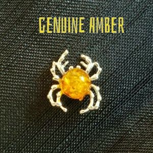 Tiny Amber Earring Sterling Silver Spider